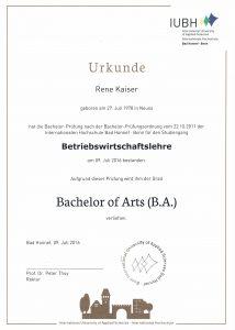 Urkunde Bachelor of Arts